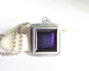 Purple necklace made in pewter and resin,zen,violet,summer,anniversary,birthday,birthstone,june,unique,wedding,novelty,evening necklace,