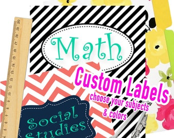 vinyl labels, back to school, organization for kids, school supply labels, vinyl school labels, binder labels, subject labels