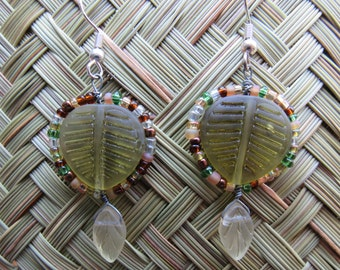 Hand beaded leaf earrings