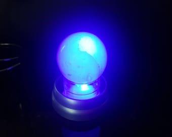 Selenite Sphere on Color Changing Light Base, cats eye selenite sphere, 57mm