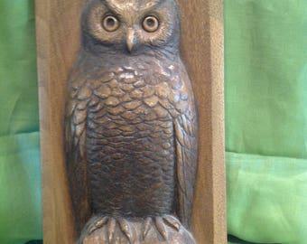 Vintage 1970's Hand Carved Wood Owl Plaqu