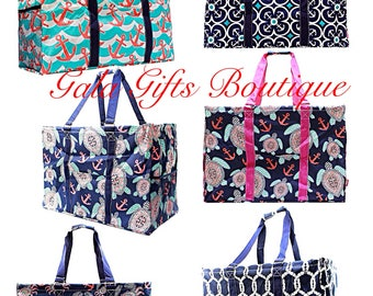 2X Large Utility Tote, Monogrammed Anchor Pattern, teacher bag, carryall tote, car organizer, summer tote, great gift
