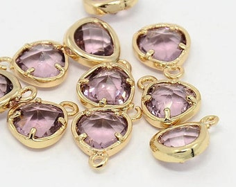2pcs, 11x8.5x4mm Real Gold Plated Brass Glass Pendants, Faceted Triangle Charms, Plum