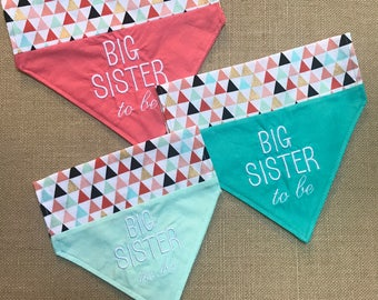 Reversible Big Sister Dog bandana/Over the collar bandana/Puppy bandana/ Pregnancy announcement/slip over collar/Peach Big sister bandana