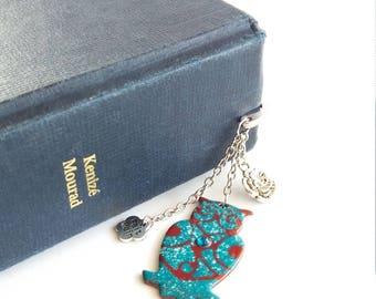 Turquoise blue bookmark, bookmark, OWL jewelry, turquoise bookmark bookmark and dark red, bookmark boho chic