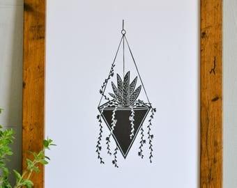 Hanging Terrarium Succulent Print, A4 or A5 Plant Print, Cactus Print, Geometric Succulent Print, Hanging Plant Print
