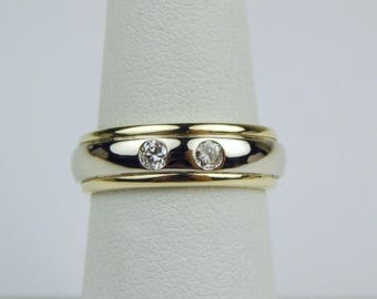 14k yellow white gold diamond band ring #10628