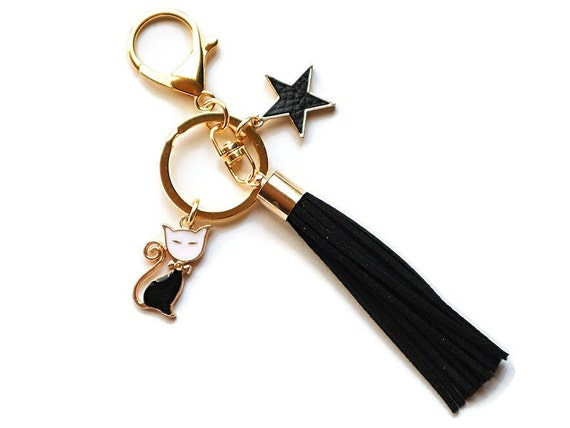 Cute cat accessories - Pet gift - Womens cat gifts - Cat keychain - Moving away gift - Cat lover gift - Moving gift - Black cat accessory
