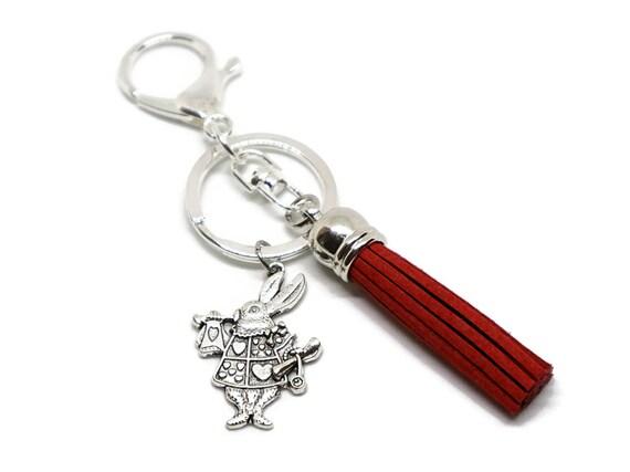 Alice in Wonderland accessory - Alice in Wonderland gifts - White rabbit gifts - Lewis Carroll gifts - Alice in Wonderland keychain