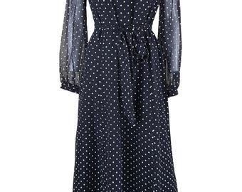 ESCO Black Vintage Long Sleeve Polka Dot Maxi Dress (UK 8)