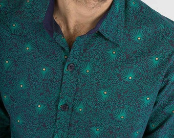 Mens 100% Cotton Long Sleeve Slim Fit Shirt Green Blue Golden Floral Abstract Print