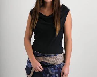 Reversible Cotton Skirt Blue Floral Print Denim Detachable Pocket Mini Length