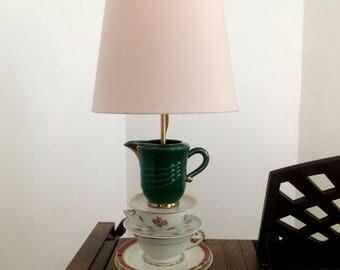 Lamp porcelain cups, teapot, teacup.