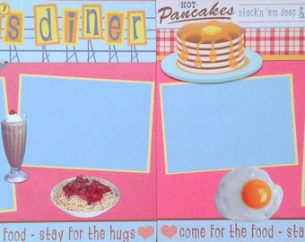 Mom's Diner Cooking two pre-made scrapbook pages by Juliet 12x12