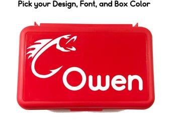 Personalized Pencil Box - Custom Pencil Case - Boys Pencil Box - Fishing School Box - Crayon Box - Plastic Pencil Case - Hunting Pencil Box