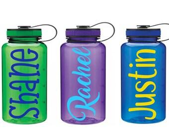 Custom Water Bottle, Personalized Gym Bottle, 34 oz Water Bottle, Wide Mouth Sports Bottle,  Gift for Her, Water Intake Bottle, Team Gifts