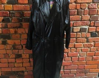 90s Long Black Shiny Raincoat Jacket Big Lapels Collar Floor Length 1428