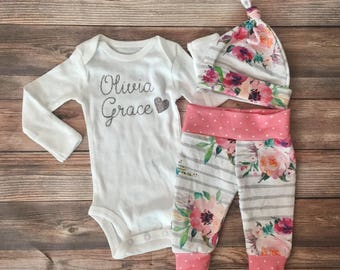 Gray Stripe Floral Girl Coming Home Outfit, Silver Glitter, Going Home Outfit, Newborn girl outfit, newborn pants, newborn hat, hello world
