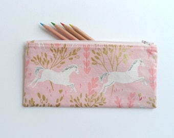 Pencil case, zipper pouch, childrens small purse, gift for kids, kids pouch, unicorn fabric, toy storage pouch, stocking stuffer