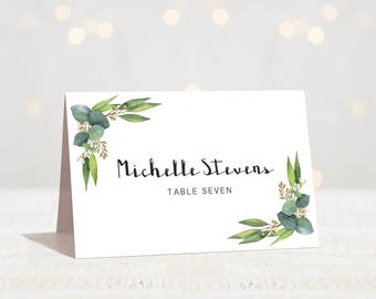 Outdoor Wedding Name Cards Wedding Green Wedding Place Cards Printable Eucalyptus Seating Cards Wedding Instant Download Wedding Tent Cards