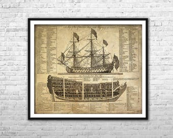 Old ship blueprint archival paper print and canvas print old ship blueprint archival paper print and canvas print warship poster pirate ship wall art home malvernweather Choice Image