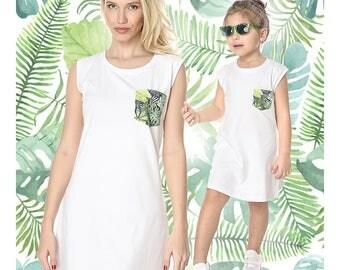 Matching White Dress, Women Summer Dress, Matching Mother And Daughter, White Girls Dress, Beach Dress, Printed Dress, Matching Outfit