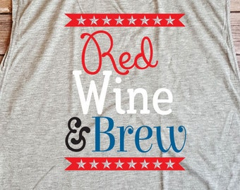 Red Wine and Brew Fourth of July Patriotic Tank Design