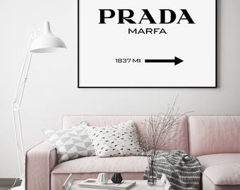 Prada Marfa Print, Prada Marfa Sign, Motivational Modern Print, Fashion Print, Prada Printable, Typography Black and White, Prada
