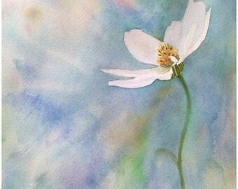 Peinture originale fleurs aquarelle paysage de fleurs art floral anémones blanc et bleu