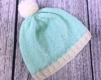 Infant Knitted Beanie Hat w/ Pompom 100% Acrylic Bright Lightweight Newborn Baby Blue Aquamarine Gender Neutral