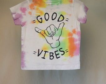 Size 1  - Good Vibes - Ready To Ship - Unisex - Children - Kids - Iced Tie Dyed T-shirt - 100% Cotton - FREE SHIPPING within Aus