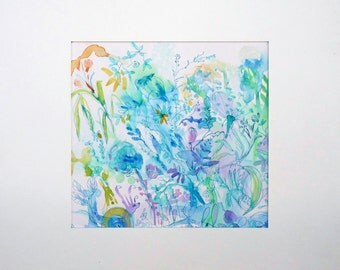 "original floral watercolor art painting ""blue flowers field"""