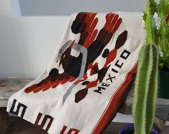 """Vintage Mexico Thick Throw Blanket Serape / 50"""" x 76"""" / Couch Living Room Cabin Rustic / Bedding Bed Eagle Snake Boho Bohemian"""