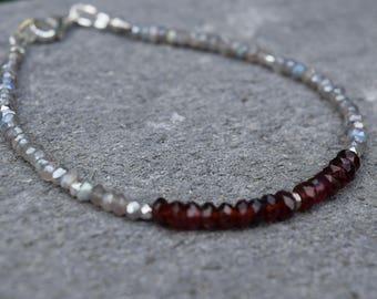 Stunning MOZAMBIQUE Garnets and Labradorite Bracelet~ January Birthstone Bracelet~ Beaded Gemstone Bracelets~