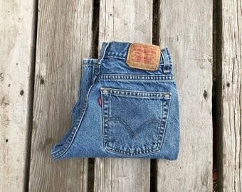 """Levi's 569 25"""" Medium Wash High Waist Red Tab Vintage Jeans"""
