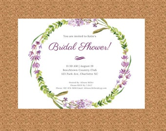 Floral Wreath Bridal Shower Invitation, Digital or Printed, 7 X 5, Custom