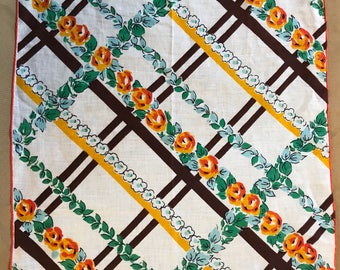 Vintage Fall Floral Plaid Handkerchief Gold Brown Orange Green