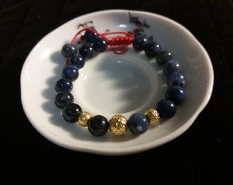 Natural Sodalite Beaded Chinese Red String Bracelet with Three 24K Pure Gold Beads