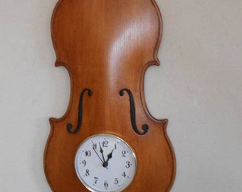 Violin Wall Clock (Med. Stain)