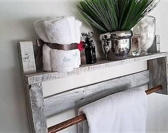 Reclaimed Wood Towel Rack-Pallet Wood-HandCrafted-HandMade-Farmhouse chic-Bathroom towel Rack-Rustic Towel Rack