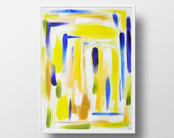 Abstract acrylic painting. Canvas wall art, Unique Gift for Children room or Nursery, Color plate accent in light interior, Wife Birthday