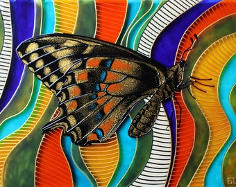 Butterfly painting colorfull original painting butterfly handpainted glass