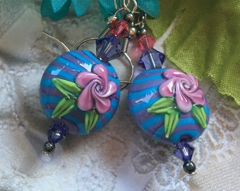 Flower SRA Lampwork Earrings, SRA Lampwork Jewelry, Mothers Day, Gift For Her, Floral Earrings