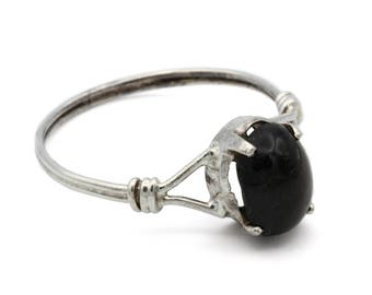 Smokey Quartz Ring, 925 Sterling Silver, Thin Band Ring, Dainty Ring, Antique 1940s Jewelry, Solitaire Ring, Black Stone Ring, Ring Size 6