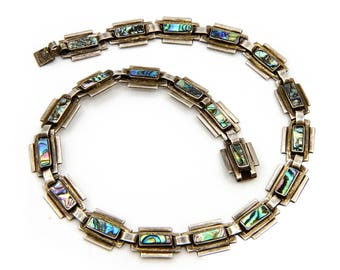 Los Ballesteros Jewelry, Sterling Abalone Necklace, Vintage Taxco Jewelry, Art Deco Necklace, Antique 1940 Jewelry, Modernist Taxco Necklace