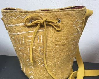 Hand printed canvas bag / suede