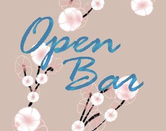 """5x7 Cherry Blossoms Wedding Sign - """"Open Bar"""""""