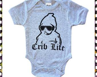 Crib Life, Funny Onesie, Baby Boy Onesie, Cute Baby Shower Gift, Baby Gift