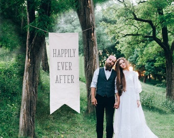 Wedding Banner Happily Ever After 6 Ft Tall Hand Painted Canvas Banner, Wedding Decor Sign, Giant Photo Prop, Whimsical Fairytale Decoration