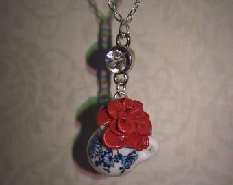 Burgandy Rose in a Vase Necklase